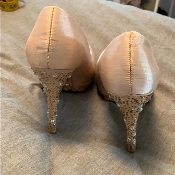 Nude satin beaded  heels